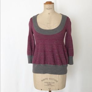 Free people striped poofy arms sweater sz:S school